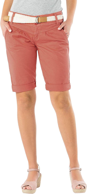 Fresh Made Bermuda da Donna Color Pastello con Cintura Intrecciata Eleganti Pantaloni Corti Stile Chino