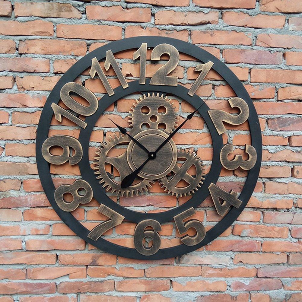TGG ソリッドウッドウォールクロック、バーレストランリビングルームウォールクロックアートパーソナリティウォールクロック装飾ビンテージウォールクロック直径80CM 壁時計 (色 : B) B07FSZF9D4B
