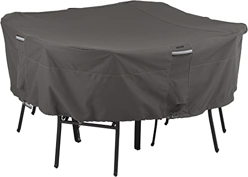 Classic Accessories Ravenna Water-Resistant 66 Inch Square Patio Table Chair Set Cover