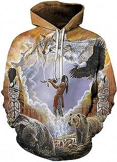 Alec&Arvin Wolf Native 3D Sweatshirts Men Hoodie Hoodies Loose Tracksuit