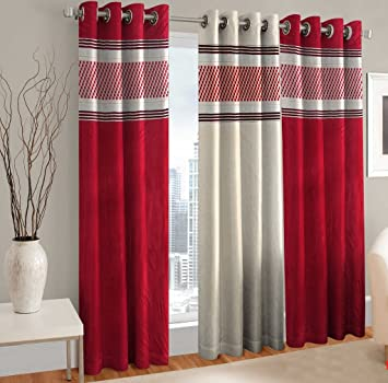 Buy Home Cloud Polyester Blend Long Door Curtains For Bedroom And Living Room 9ft Maroon Set Of 3 Online At Low Prices In India Amazon In