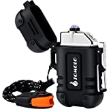 TOMOLO Waterproof Lighter Plasma Windproof USB Rechargeable Flameless Dual Electric Arc Lighter with Lanyard Emergency Whistl