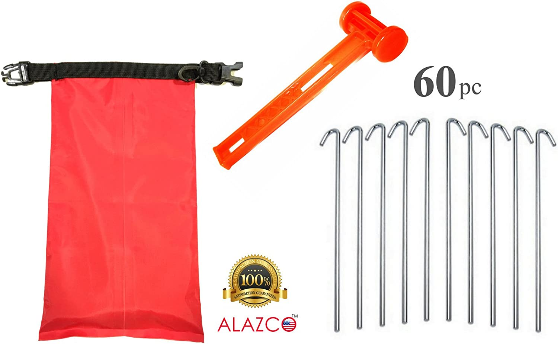 ALAZCO Galvanized Steel Tent Pegs - Garden Stakes -Heavy Duty - Rust Free
