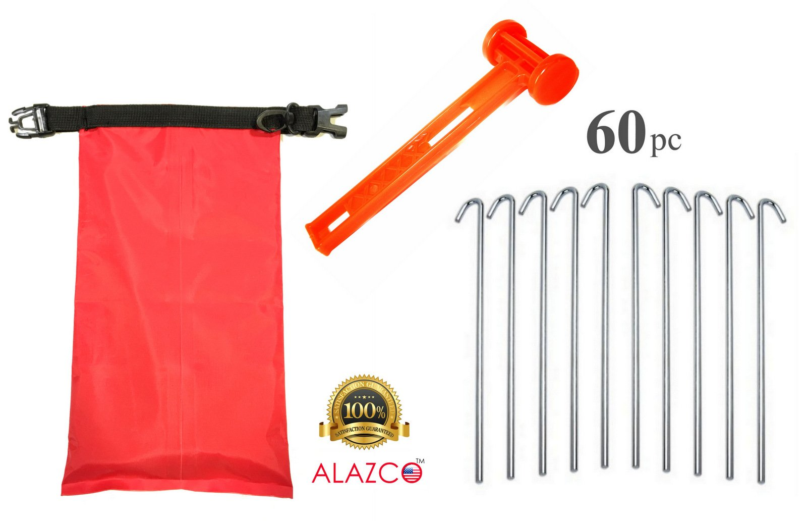 ALAZCO Galvanized Steel Tent Pegs - Garden Stakes -Heavy Duty - Rust Free (60pc Stakes, 1 Mallet & Bag) by ALAZCO
