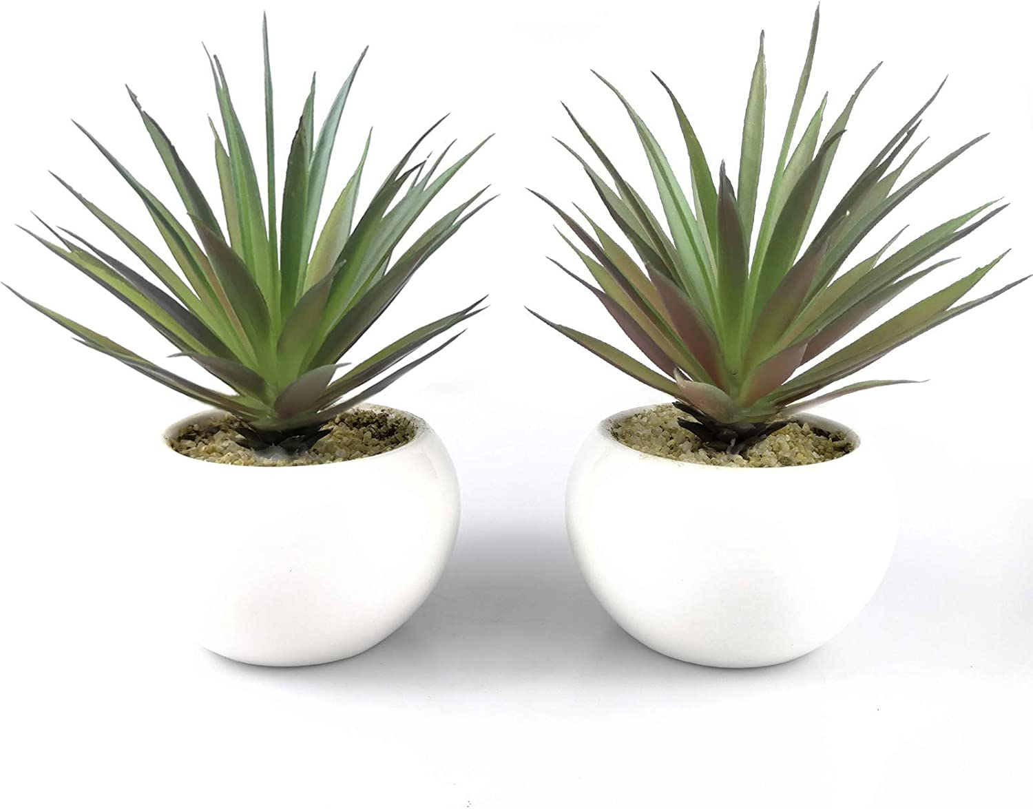 "Tuokor Small Artificial Plants in Ceramic Pots, Faux Greenery 2 pcs Set 3.5"" x 6.7""(D x H)"