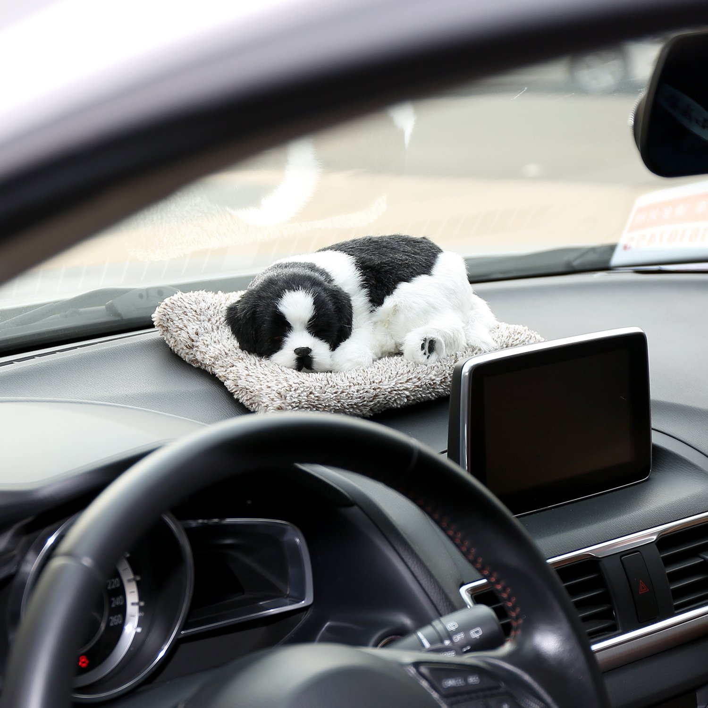 Good Car Ornament Fleece Plush Dogs Decoration Simulation Sleeping Dog Toy Automotive Dashboard Decor Ornaments Cute Auto Accessories Ornaments