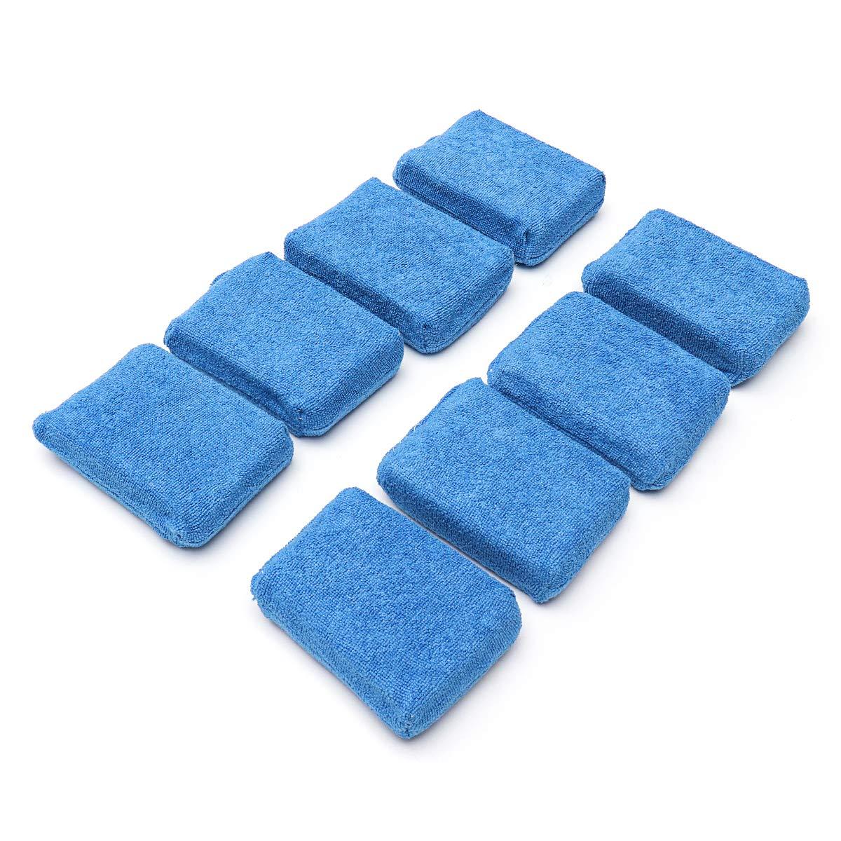 AAlamor 8Pcs Bleu Microfibre Applicateur Nettoyage /Éponge Tampons pour Lavage De Voiture Cire Polissage Nettoyage