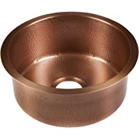 "Sinkology SP504-17AC Ducreux Undermount Handmade Pure Solid 0-Hole Prep Copper Bar Sink, 17"", Antique"