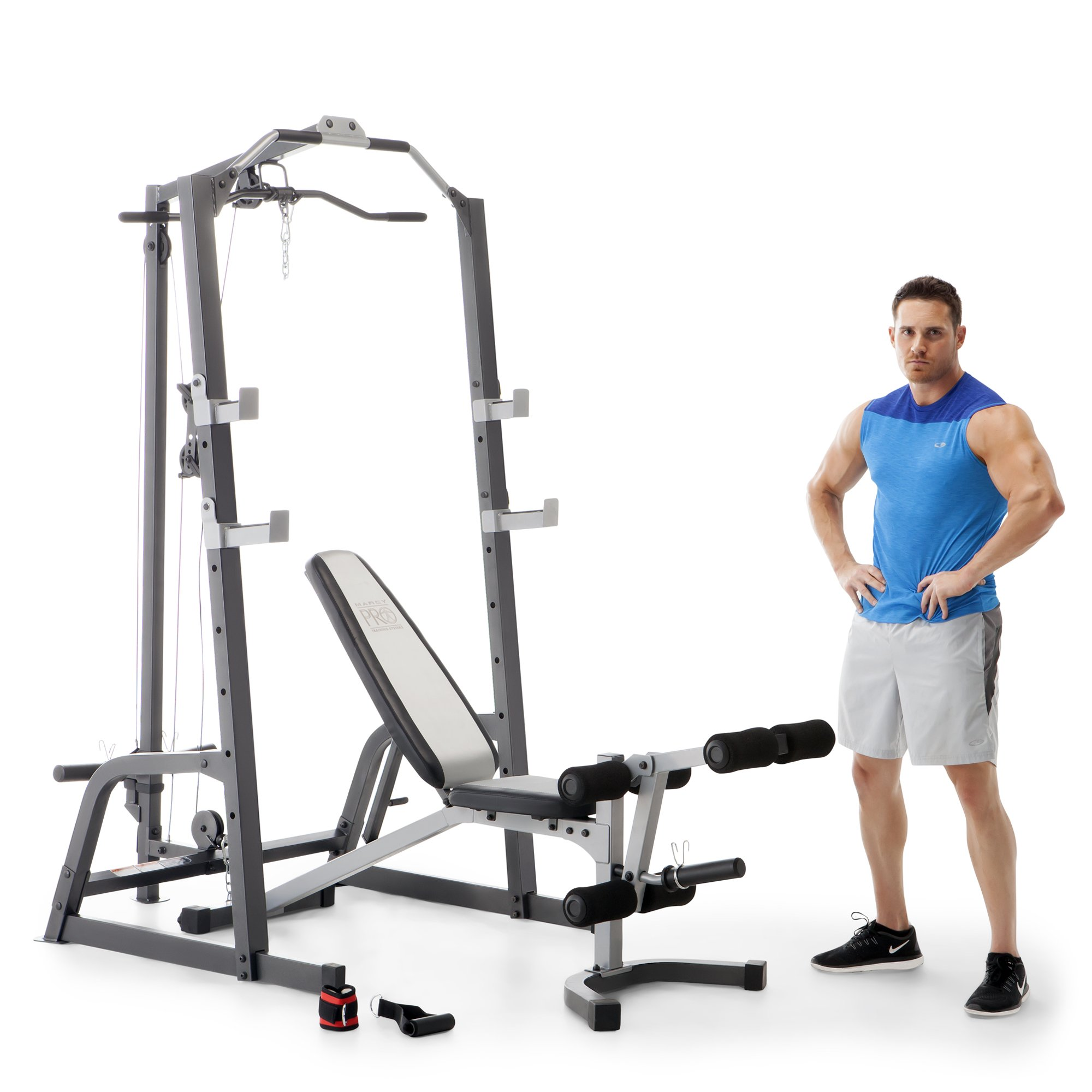 Marcy Home Gym Fitness Deluxe Cage System Machine with Weight Lifting Bench by Marcy Fitness