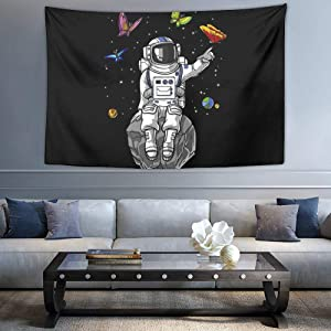 SWEET TANG Astronaut Psychedelic Butterflies Tapestries, Phases 3D Print Indian Home Decorative Bedding Tapestry, Abstract Tapestries