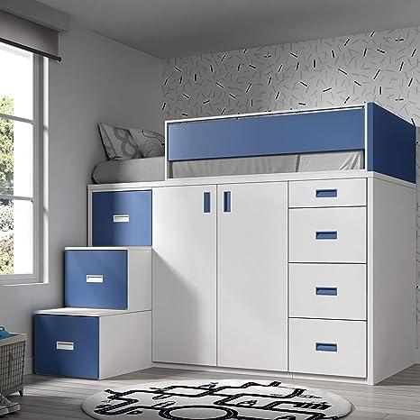 ROS Möbel Hochbett mit Schrank und Schubladen, 165 x 204 x ...