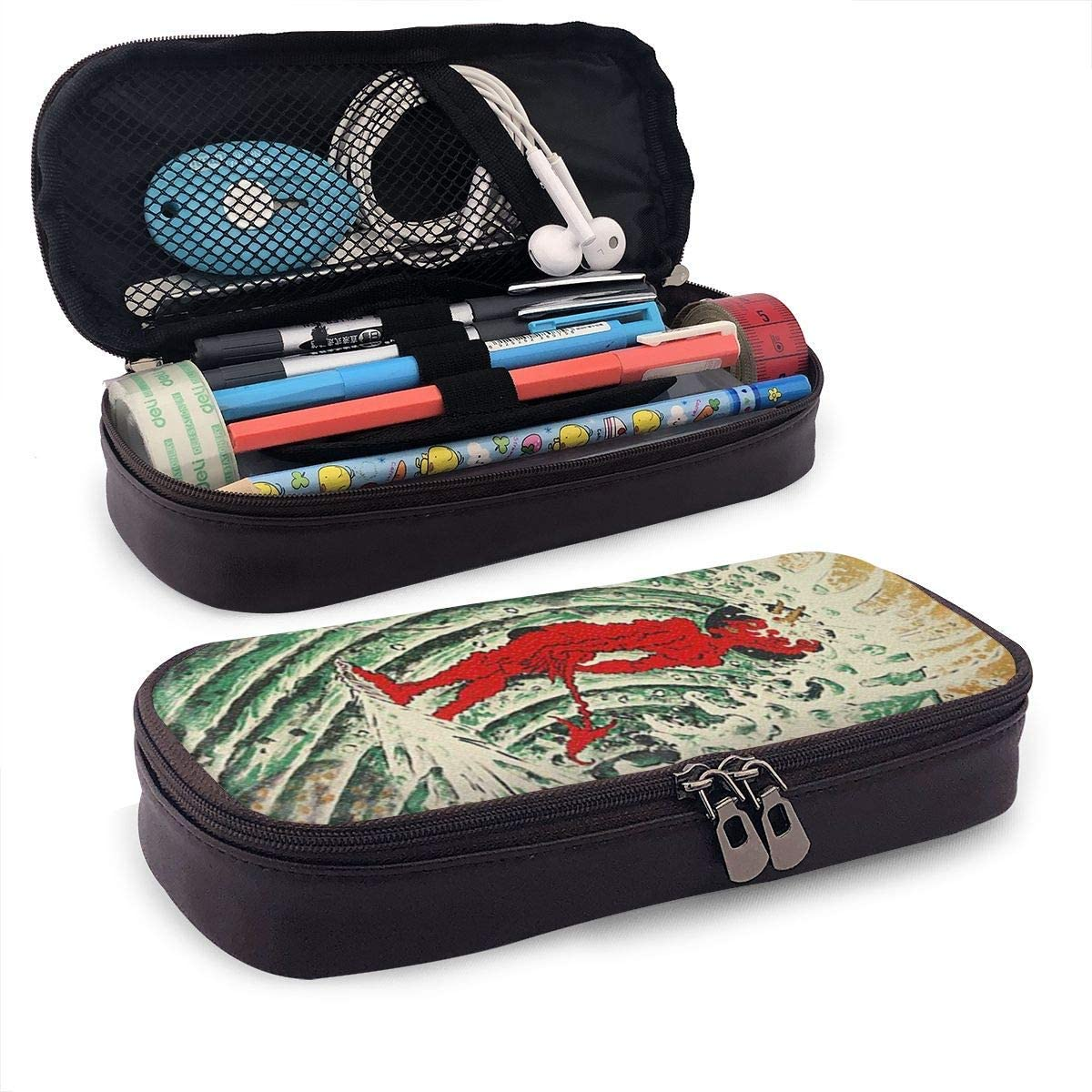 Estilo de pintura japonesa espíritus malignos surf PU cuero lápiz estuche para bolígrafo bolsa con cremallera material escolar para estudiantes