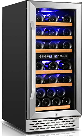 Wine Cooler Nictemaw 15 Inch Dual Zone Beverage Refrigerator | Amazon