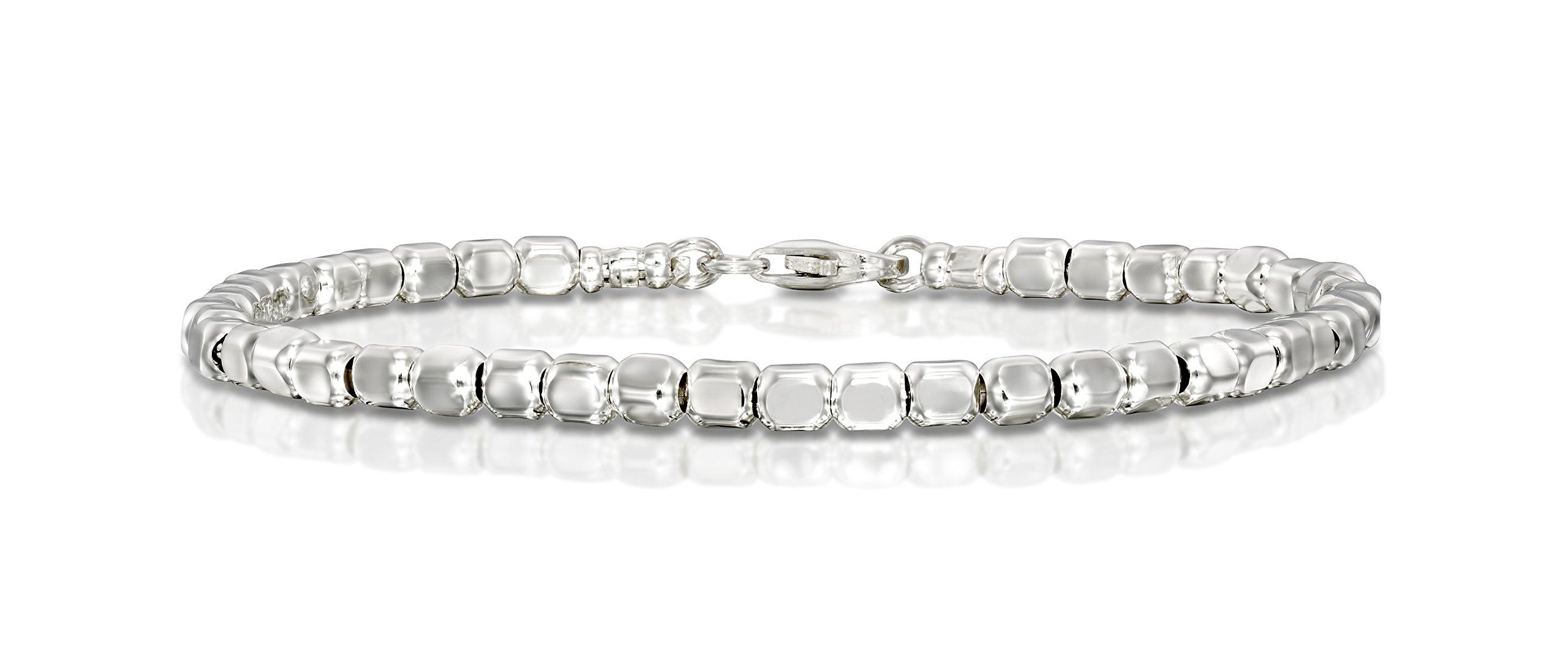 Women's Square Beads Bracelet Dazzling 925 Sterling Silver Beaded Bracelet, 7''