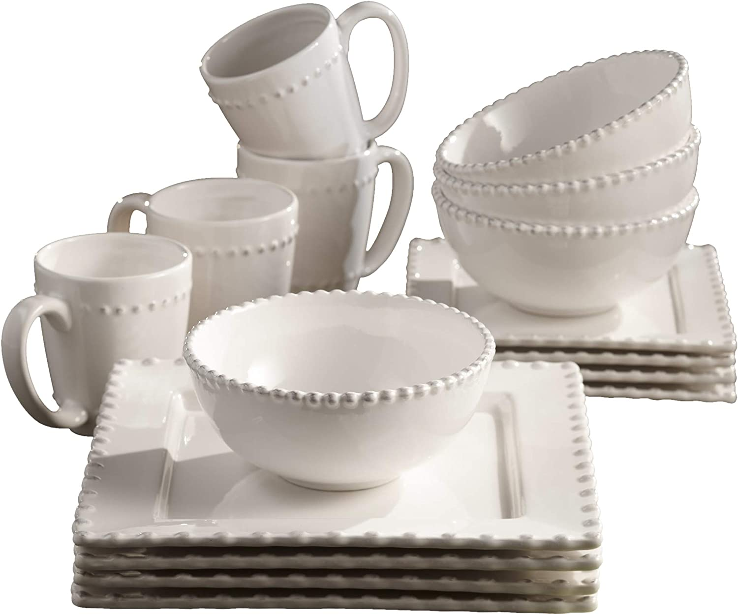 American Atelier 1567023-RB Bianca Bead 16-Piece Ceramic Square Dinnerware Set -4 Dinner & 4 Salad Plates, 4 Bowls, 4 Mugs – Gift for Special Occasion, Party, or Birthday, White