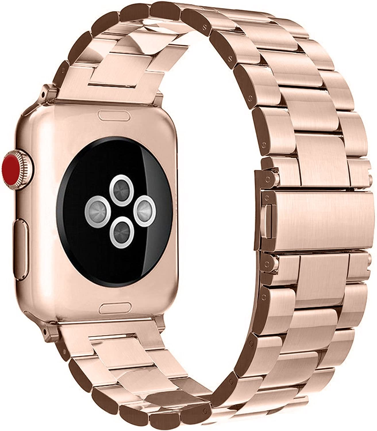 Fintie Band Compatible with Apple Watch 44mm 42mm Series 6/5/4/3/2/1/SE, Premium Stainless Steel Metal Replacement Wrist Strap Bracelet Compatible with All Versions 44mm 42mm Apple Watch, Rose Gold