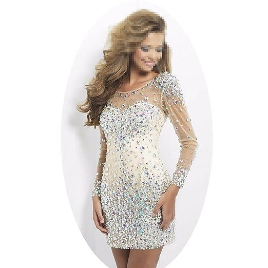 Amazoncom Dingdingmail Womens Luxury Crystal Diamond Prom Dress