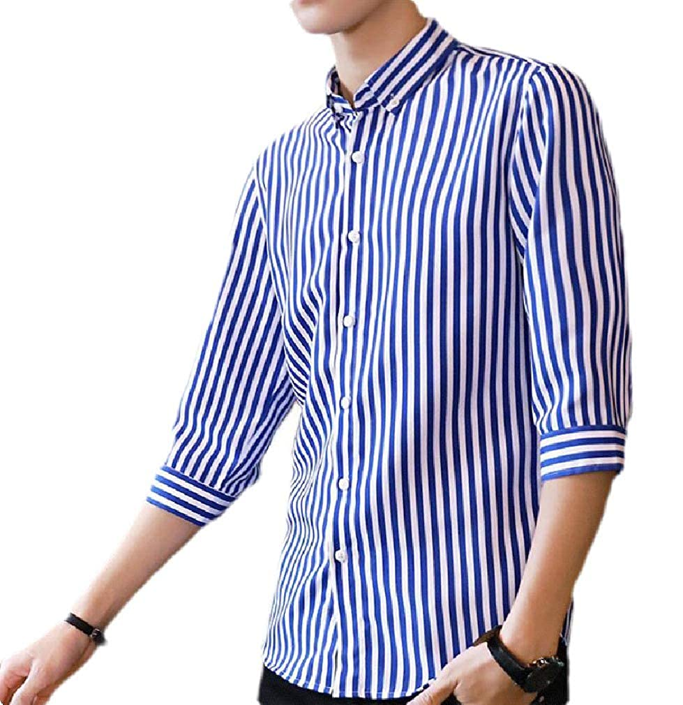 Etecredpow Mens Regular Fit Striped Button Front 3//4 Sleeve Casual Shirts