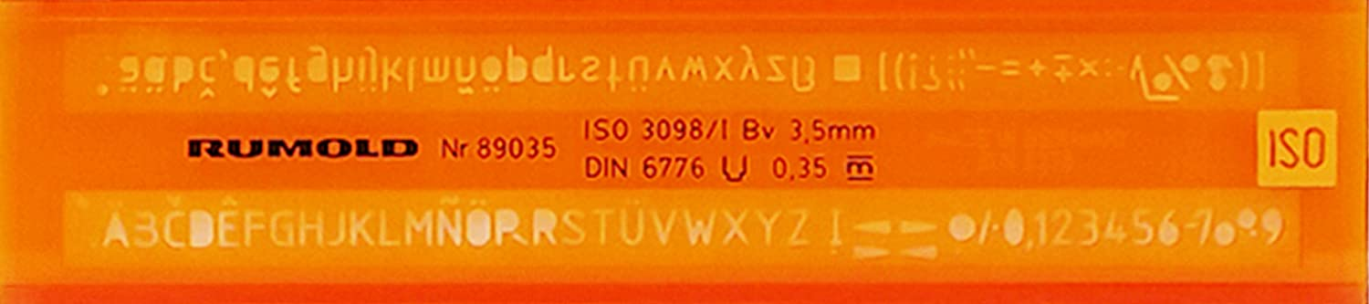 Rumold Schriftschablone 2,5mm orange//transparent