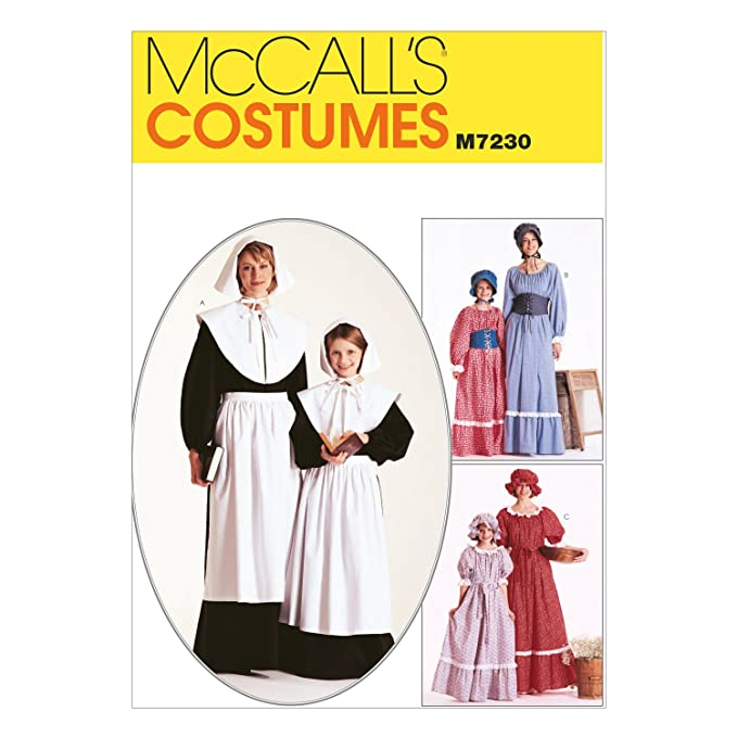 Victorian Sewing Patterns- Dress, Blouse, Hat, Coat, Mens McCalls M7230 Womens Historical Pioneer and Pilgrim Costume Sewing Pattern Sizes 8-10 $9.99 AT vintagedancer.com