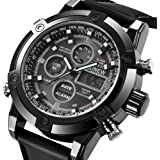 Men's Casual Daily Luxury Dual Movt Men's Leather Quarz Analog Digital LED Sport Wrist Watch (Black, Men's Size)