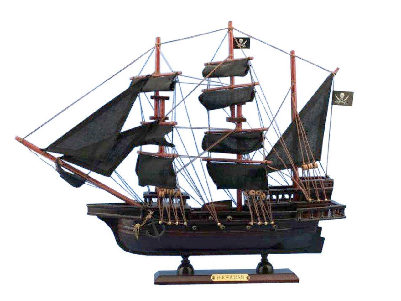 Hampton Nautical Wooden Calico Jack The William Model Pirate Ship, 20''