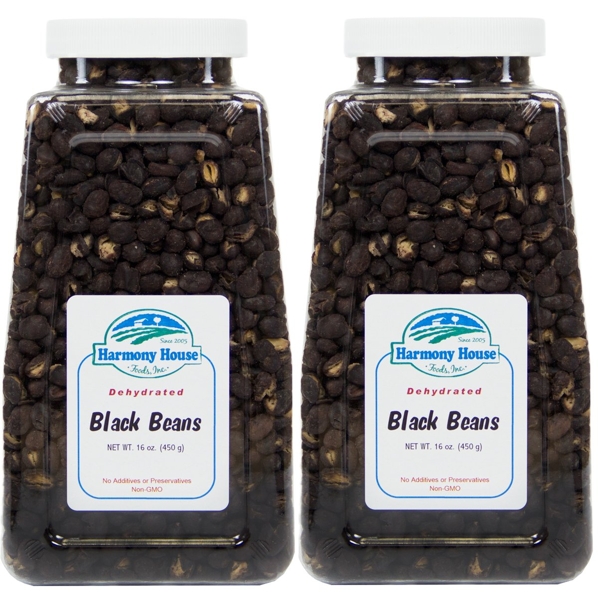 Harmony House Foods, Dried Black Beans (16 Ounce Quart Size Jar) - Set of 2