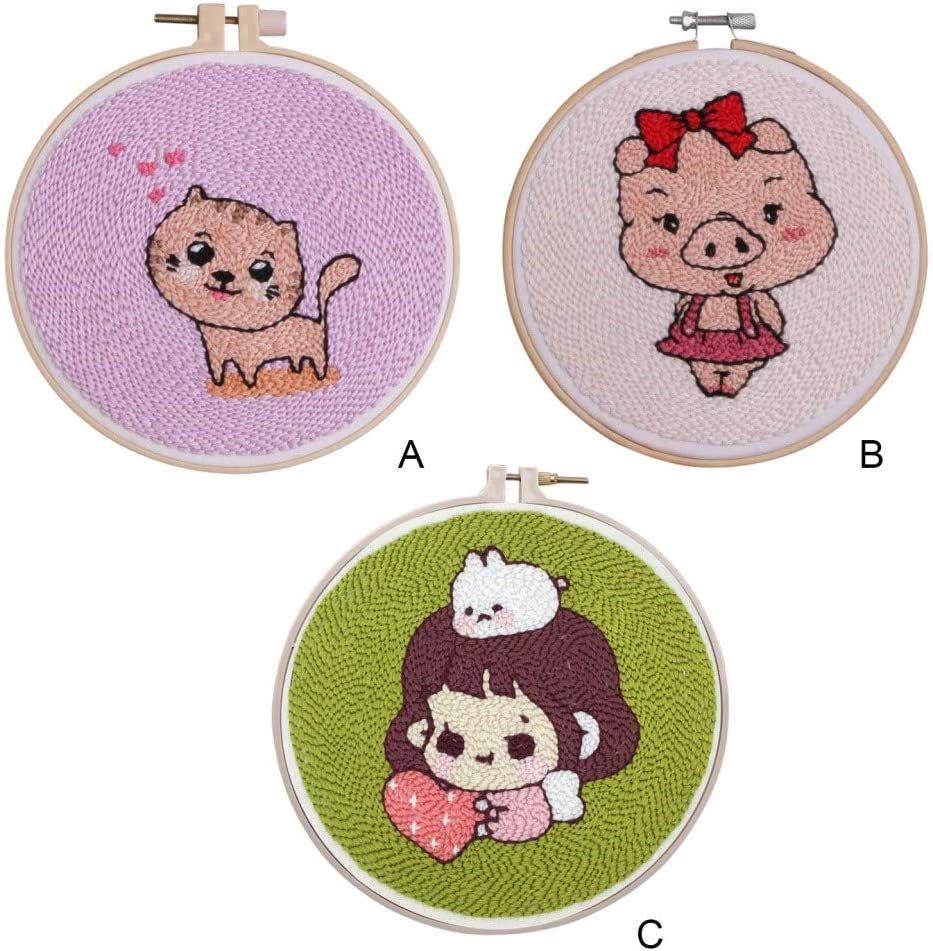 Cartoon Pattern Punch Needle Starter Kit Emebroidery Pen Punch Needle Sets DIY Creative Gift for Kids