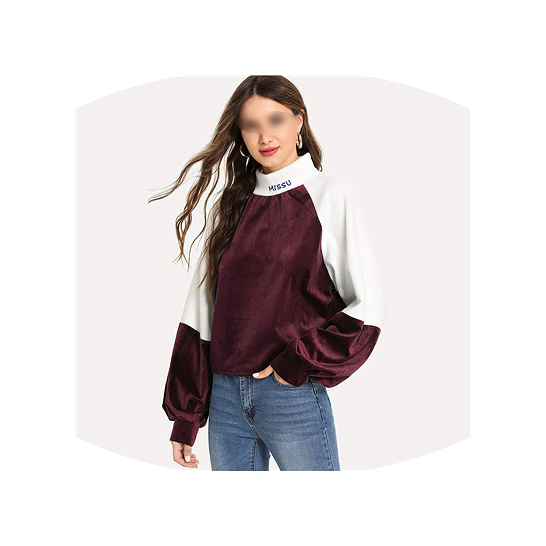 winkwink fashion-hoodies Sleeve Letter Embroidery Velvet Sweatshirt Women Autumn Casual Colorblock Stand Collar Pullovers