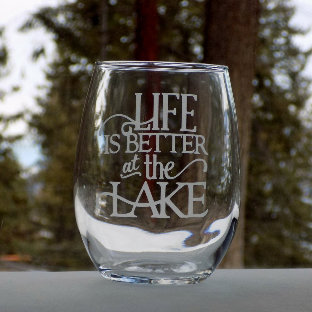Life is Better at the Lake, Cottage by The Lake House Decor, Set of Two 20oz Etched Wine Glasses
