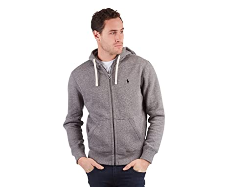 993c6dc0abc536 Polo Ralph Lauren Classic Solid Fleece Hoodie Jacket for Men - L, Grey  (710548546005