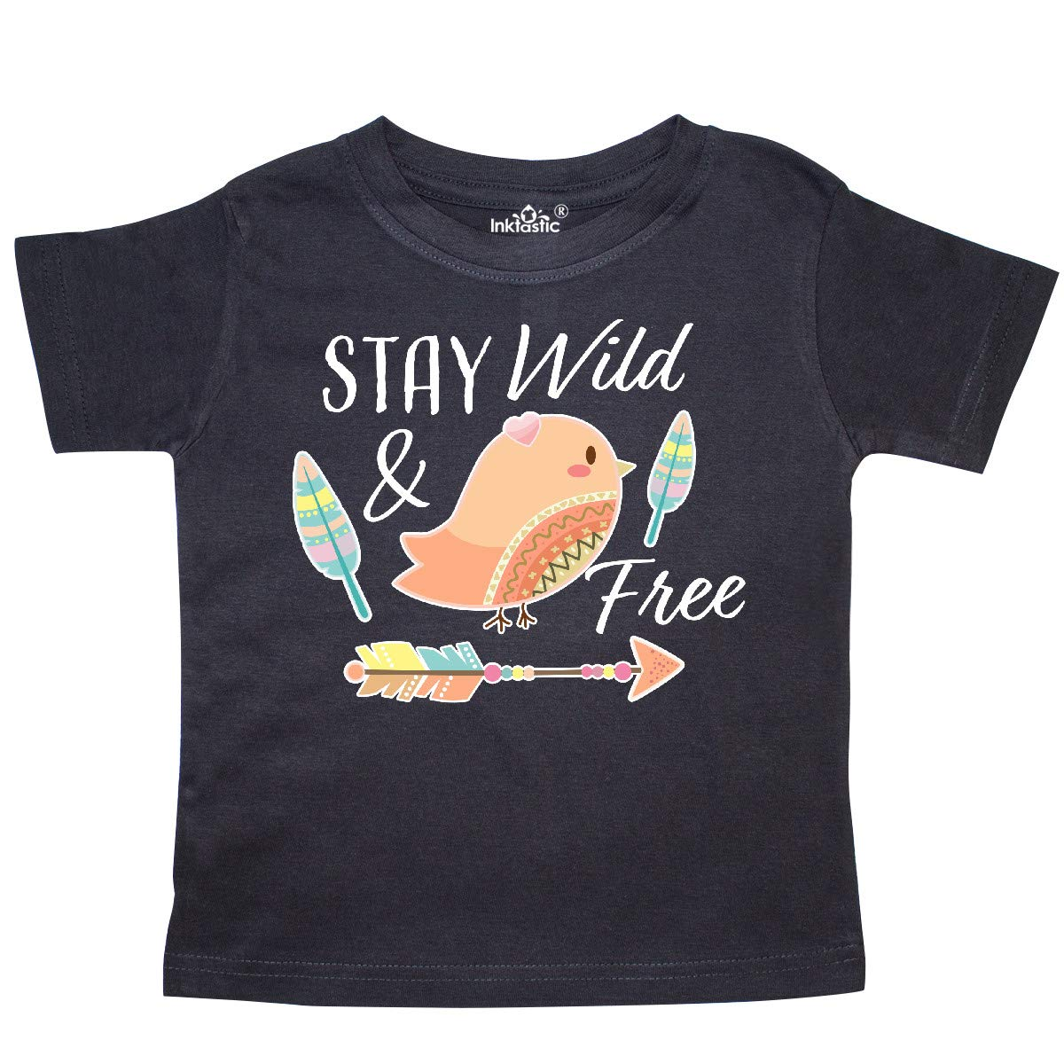 inktastic Stay Wild /& Free with Chick Feathers and Arrow Toddler T-Shirt