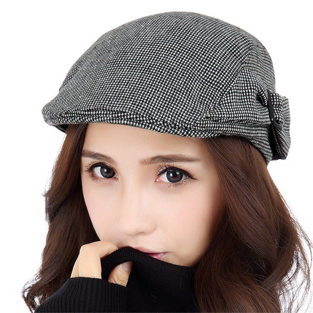Las mujeres caen moda otoño invierno femenino todos ocio-match gorra fino estilo elegante sombrero femenino,S (54-56cm) Reglamento de Sweat Band,Pale lattice