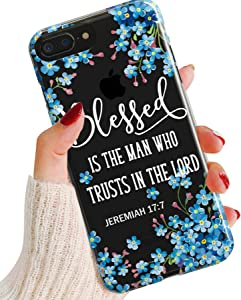 iPhone XR Case,Women Graceful Flowers Floral with Bible Verse Quote Jeremiah 17:7 Blessed Inspirational Christian Religious Soft Clear Anti-Scratch Shockproof Bumper TPU Case Cover for Apple iPhone XR