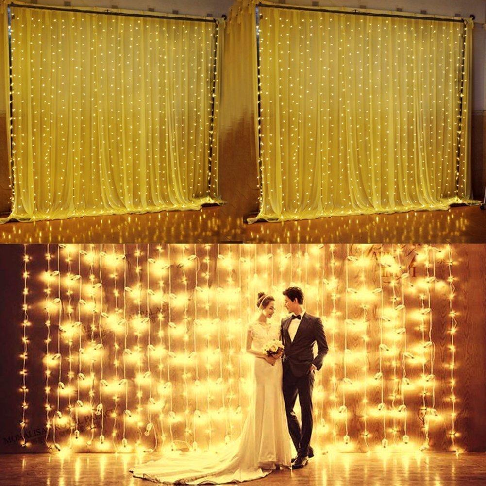 Glighone Tenda Luminosa di Natale 600LED 6 * 3 Metri Catene Luminose Interni ed Esterni per Natale Capodanno Matrimonio Striscia LED per Decorazione Tende Finestra Giardino Bar Camera Bianco Caldo