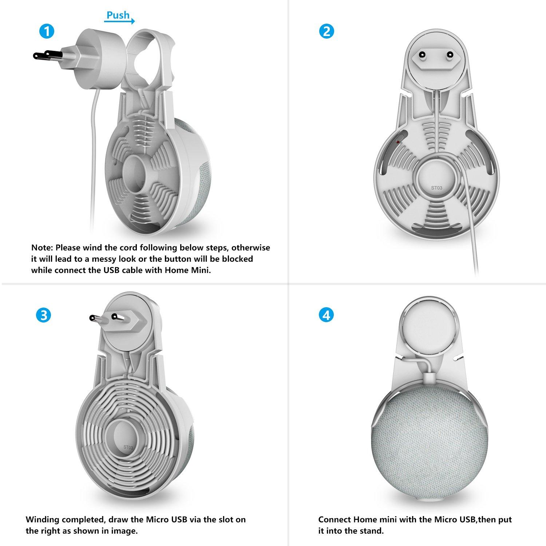 ohne Kabelsalat oder Schrauben Outlet Wandhalterungsst/änder f/ür Google Home Mini Voice Assistants Platzsparende Halterungs-Montagehalterung in K/üchen Badezimmer und Schlafzimmer Weiss
