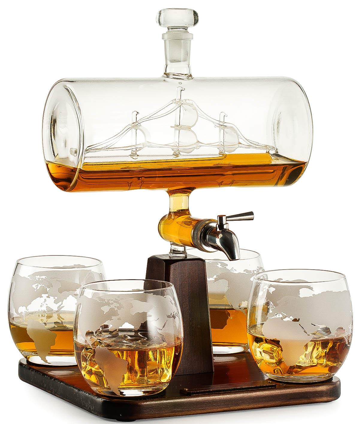 Whiskey Decanter with Antique Ship - The Wine Savant Ship Decanter Set with 4 Globe Glasses, Drink Dispenser for Wine, Whiskey Decan, Liquor Decanter, Scotch, Rum and Liquor or Spirits 1000ml by The Wine Savant
