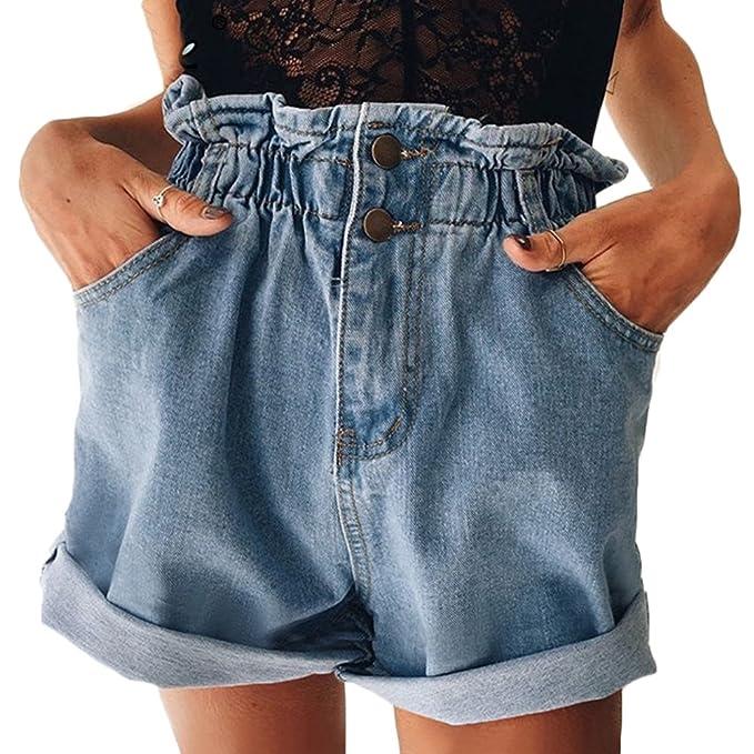 Amazon.com: Mujer con volantes cintura enrollable botón Fly ...