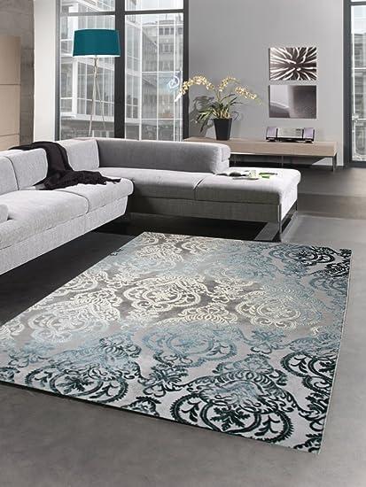 Tappeti moderni tappeto da salotto barocco ornamenti grigio turquesa ...