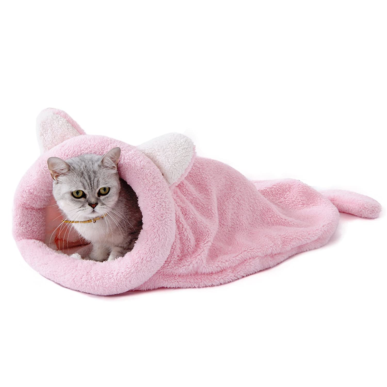 PAWZ Road Cat Sleeping Bag Fleece Soft Self Warming Camas Lavables para Gatos Snuggle Sack Matket Kitty Sack Adecuado para Gato y Cachorro Rosa 60 * 58cm: ...