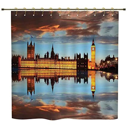 iPrint Shower Curtain,London,Splendent Scene of Big Ben Westminster Cloudy Night Thames River