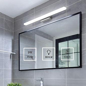 Yafido Lampe pour Miroir LED Applique Salle de Bain 9W Blanc Froid 6000K  Luminaire Salle de Bain Moderne Eclairage Salle de Bain 800LM 40CM ...