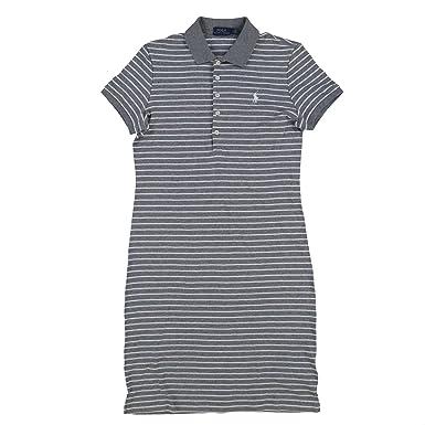 RALPH LAUREN Polo Womens Interlock Polo Dress (Small, Gray White Stripes)