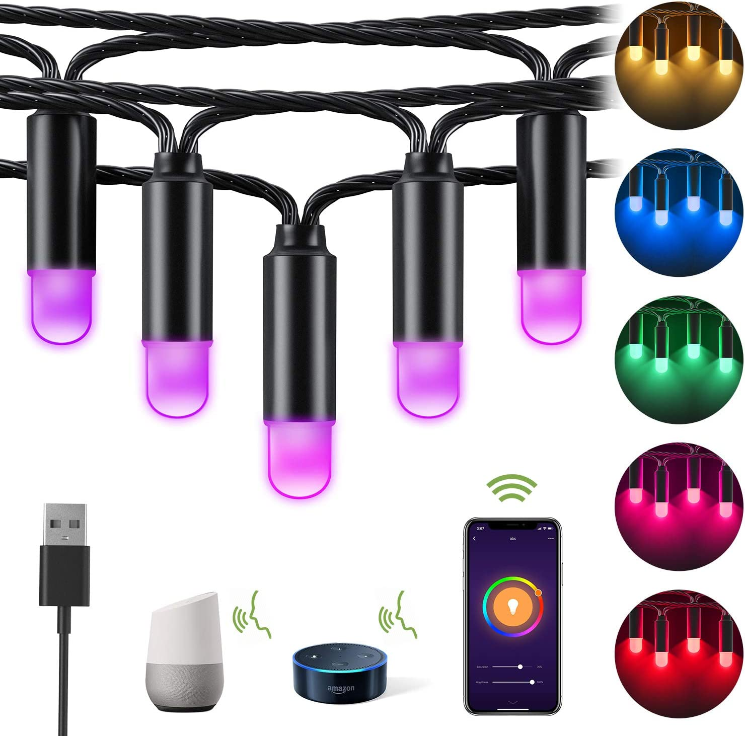 Details about  /Bluetooth Decoration LED Smart String Custom Strip Outdoor Christmas Tree Lights