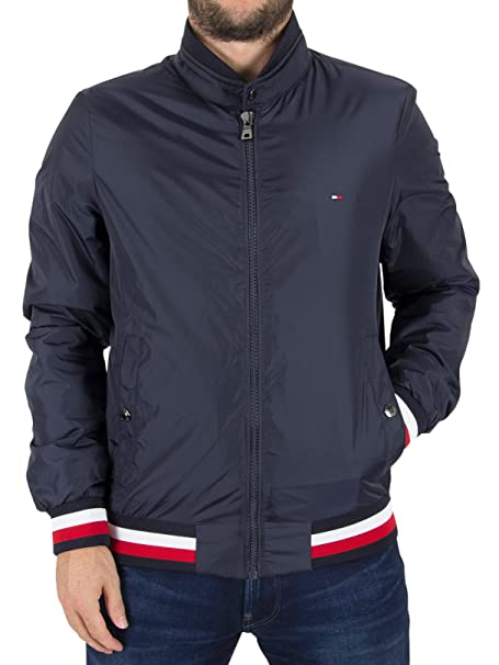 e1289537 Tommy Hilfiger Men's Erol Logo Bomber Jacket, Blue, Medium: Amazon ...