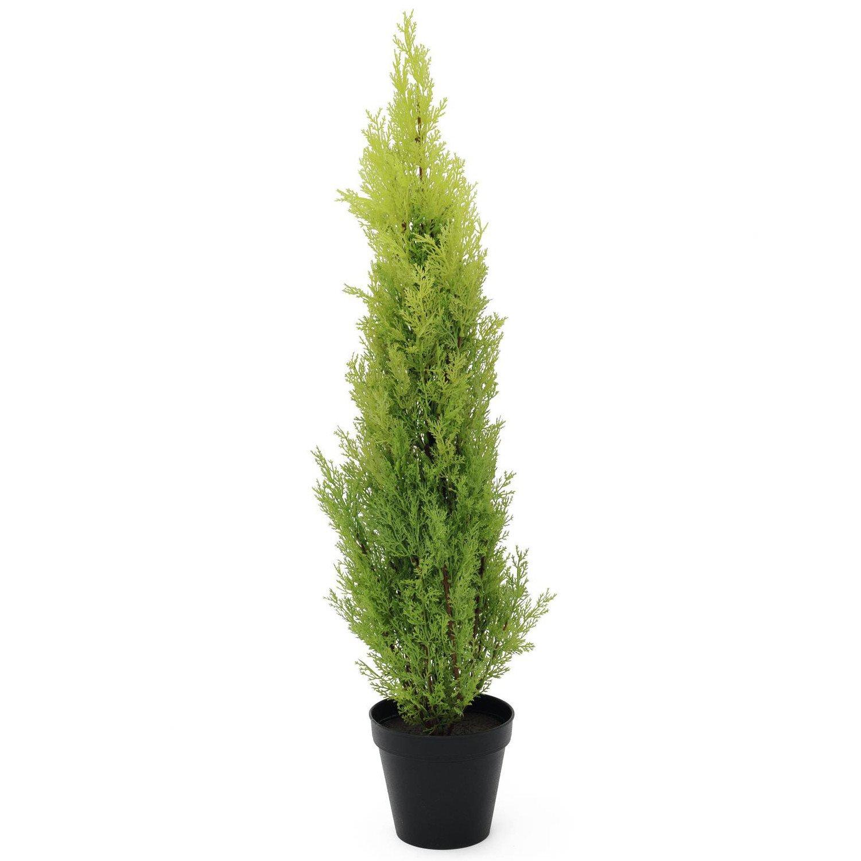 Artplants Set 2 x Künstliche Zypresse Spring im Dekotopf, 90 cm - wetterfest - Künstlicher Zeder Künstliche Konifere