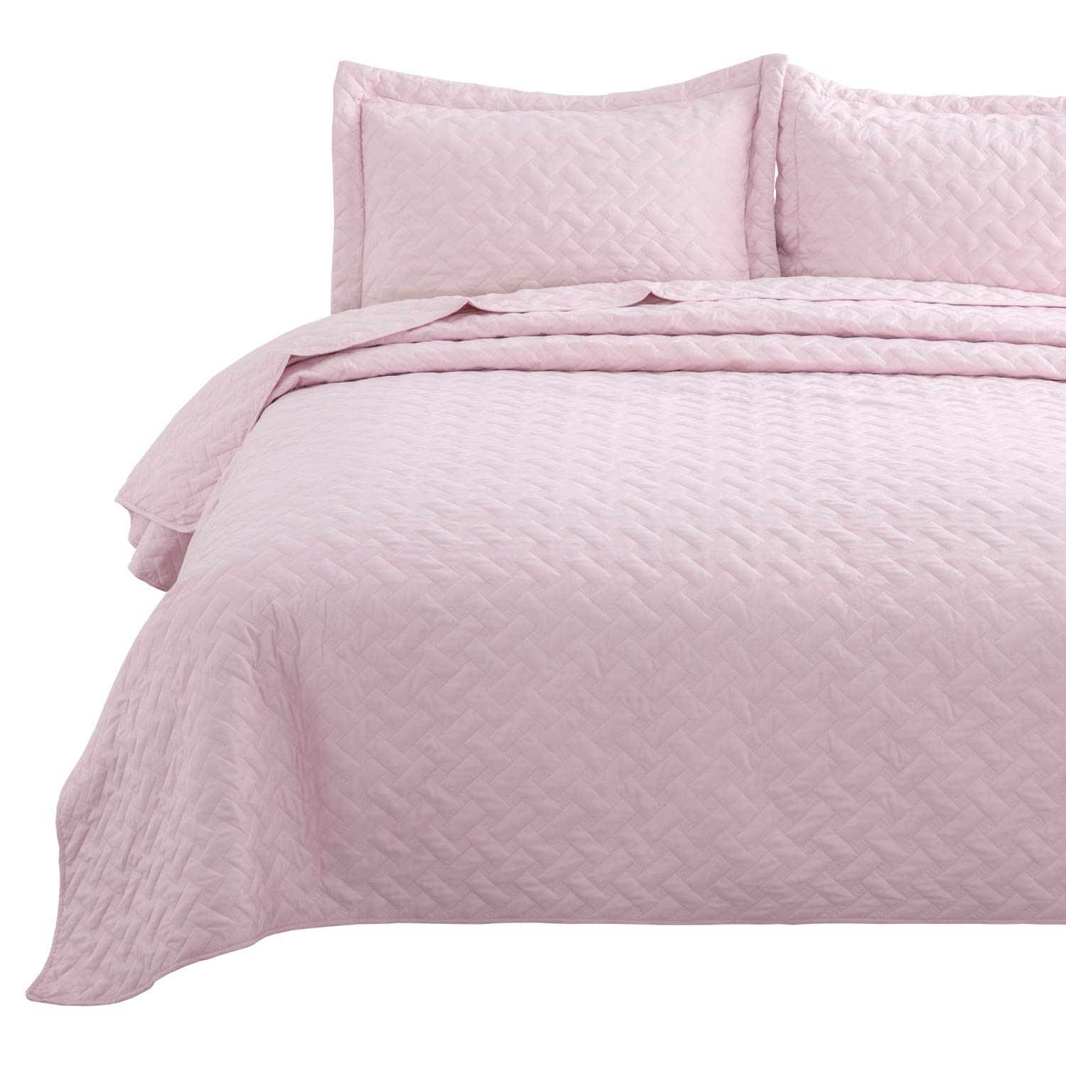 Bedsure Quilt Set Pink King Size (106x96 inches) - Basket Weave Pattern Bedspread - Soft Microfiber Lightweight Coverlet for All Season - 3 Pieces (Includes 1 Quilt, 2 Shams)