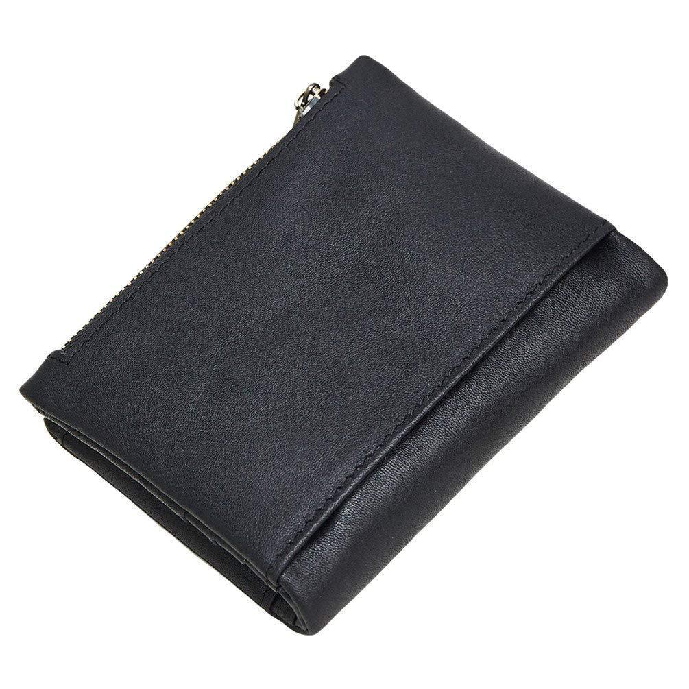 Dlife Vintage Cowhide RFID Blocking Wallet Genuine Leather Double Zipper Coin Pouch Bifold Short Wallet Handy Purse Bag Vintage 2-Brown