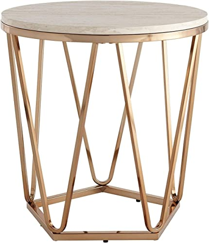 Modern Gold Round Faux Stone Table Top End Coffee Table