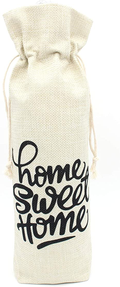 Linen Drawstring Wine Bag the holidays will be fine As long as I have wine